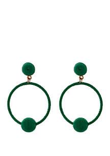 Large Green Thread Hoop Earrings