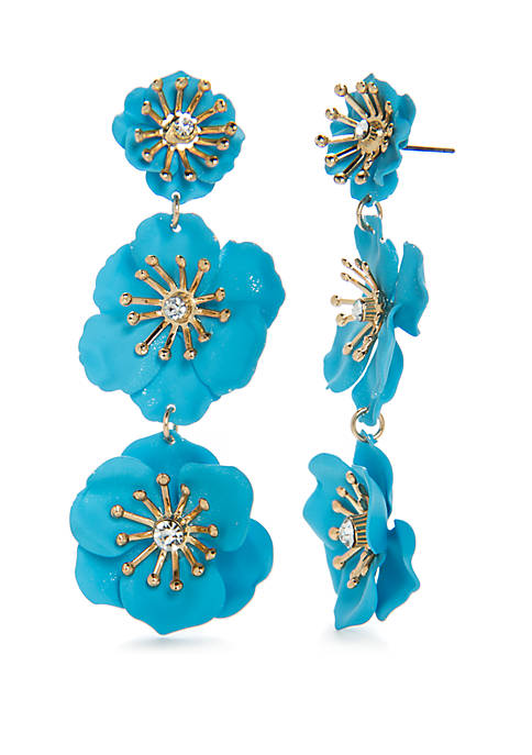Crown & Ivy™ Gold-Tone Floral Triple Drop Earrings