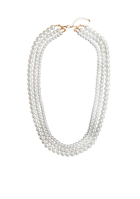 Crown & Ivy™ 3 Row Pearl Necklace