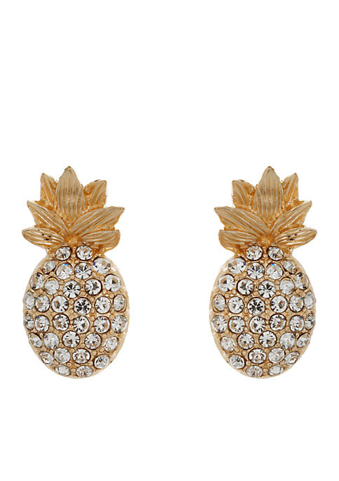 Crown & Ivy™ Crystal Pineapple Stud Earrings