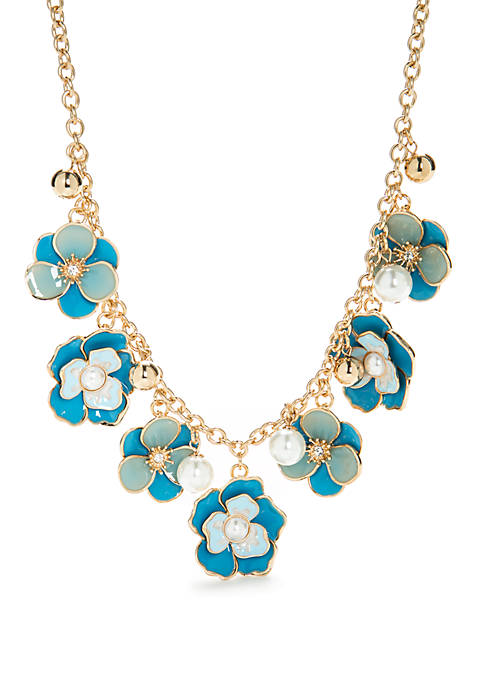 Gold-Tone Frontal Floral Necklace