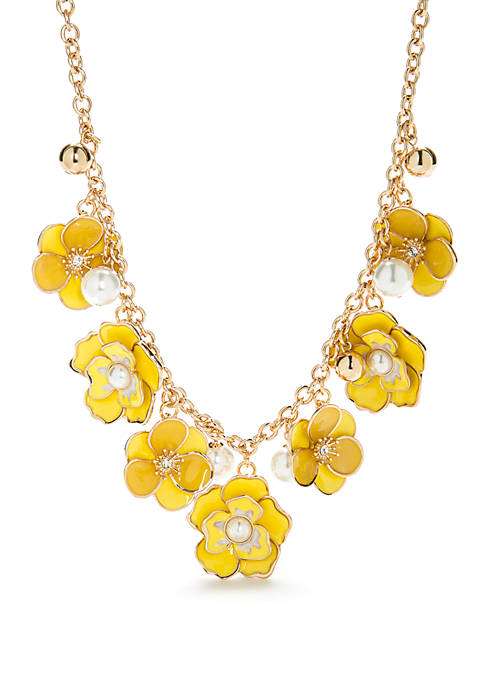 Crown & Ivy™ Gold-Tone Floral Frontal Necklace