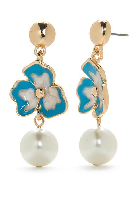 Crown & Ivy™ Gold-Tone Floral Pearl Drop Earrings