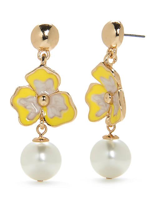 Gold-Tone Floral Pearl Drop Earrings