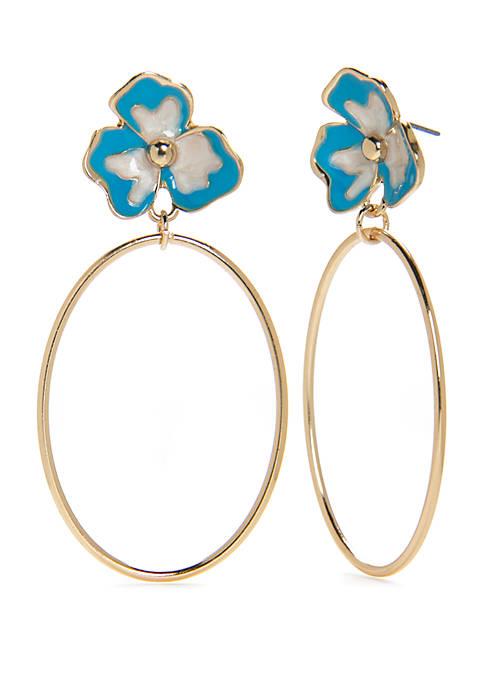 Gold-Tone Flower Hoop Earrings