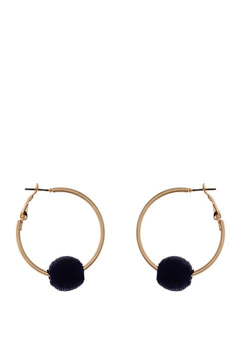 Navy Ball Hoop Earrings