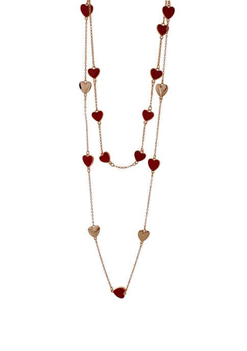 Mom & Me Heart Station Necklace Set