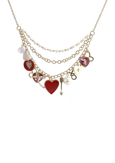 Crown & Ivy™ Heart Charm Multi Row Necklace