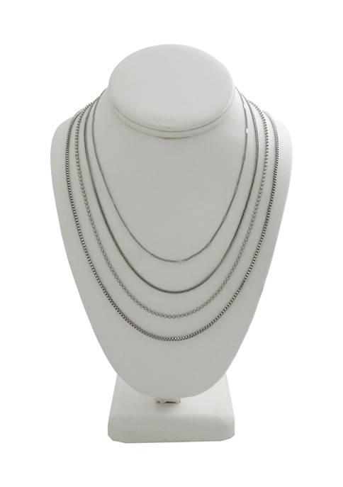 Kaari Blue™ 4 Row Silver Tone Necklace Set