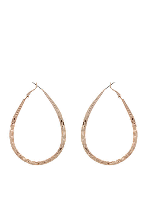 Kaari Blue™ Rose Gold-Tone Clutchless Teardrop Hoop Earrings