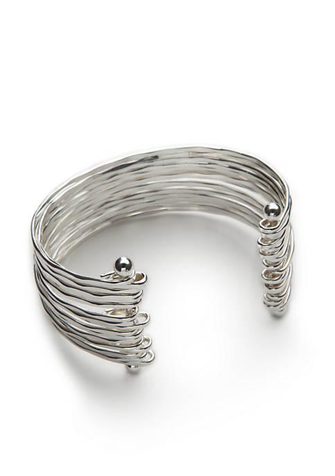 Kaari Blue™ Silver-Tone Shiny Silver Cuff Bracelet