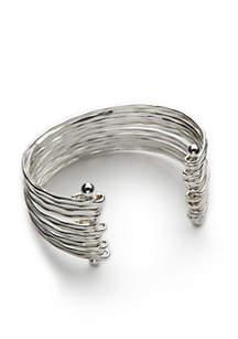 Silver-Tone Shiny Silver Cuff Bracelet