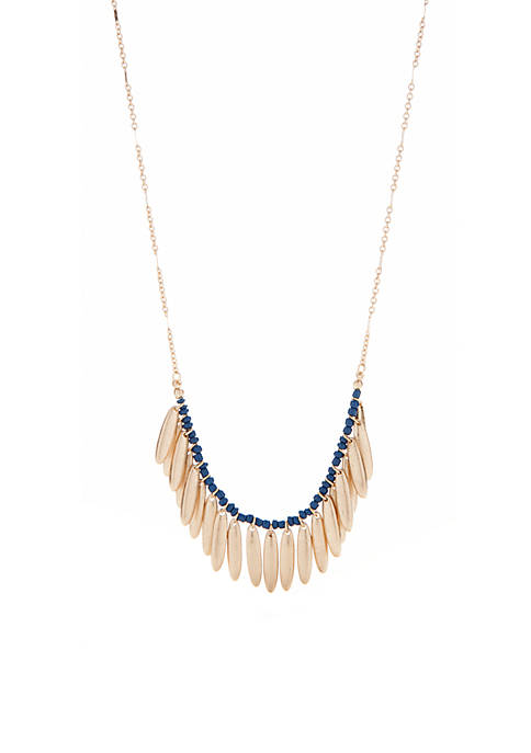 Kaari Blue™ Blue Gold Worn Gold Statement Necklace