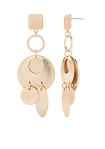 Geometric Worn Gold Earrings