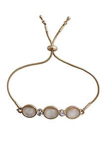 Gold-Tone Adjustable Stone Bracelet