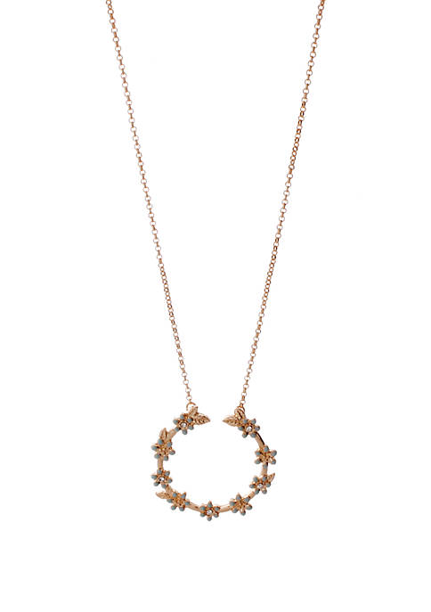 Gold Tone Crystal Flower Pendant Necklace