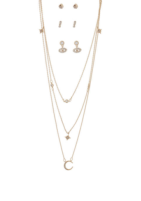 Kaari Blue™ Necklace and Earring Moon Gold Set