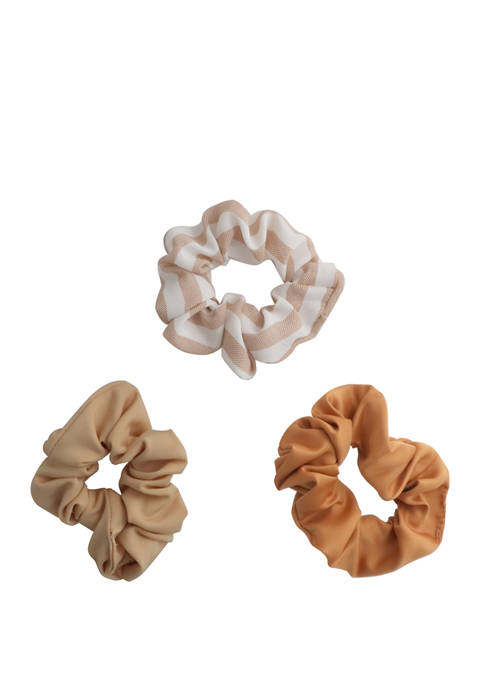 Natural Print/Solid/Stripe 3 Pack Scrunchies Set