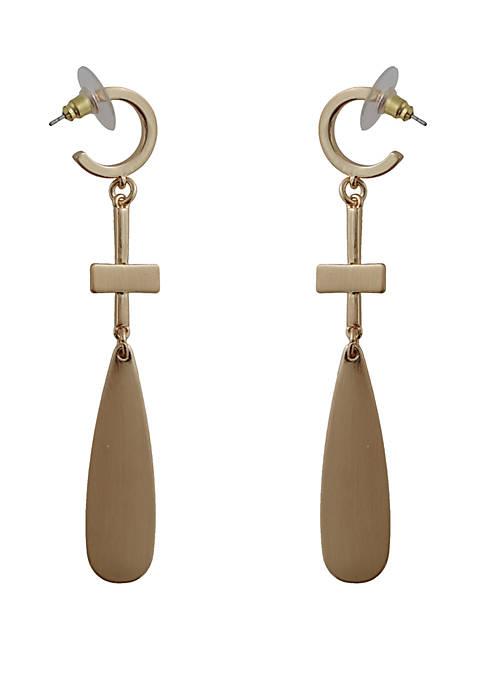 Kaari Blue™ Drop Brushed Gold Earrings