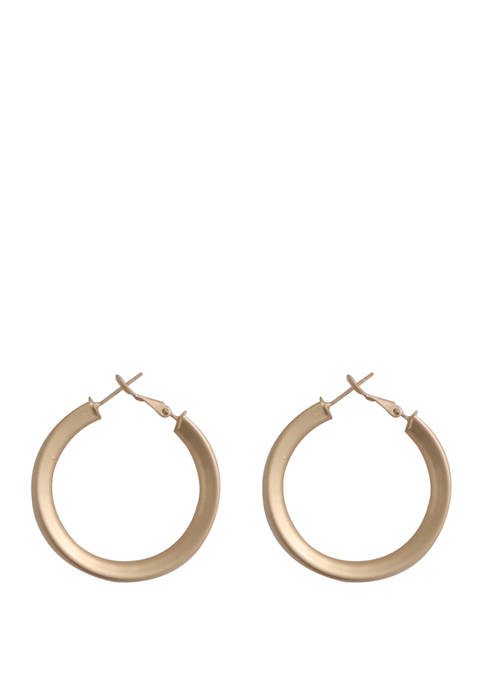Kaari Blue™ Medium Brushed Hoop Gold Tone Earrings