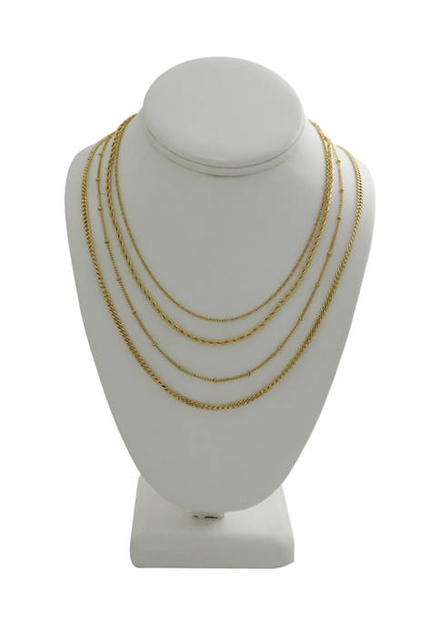 Kaari Blue™ 4 Piece Gold Tone Chain Necklace
