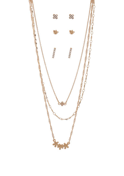 Kaari Blue™ Necklace and Earring Floral Gold Set