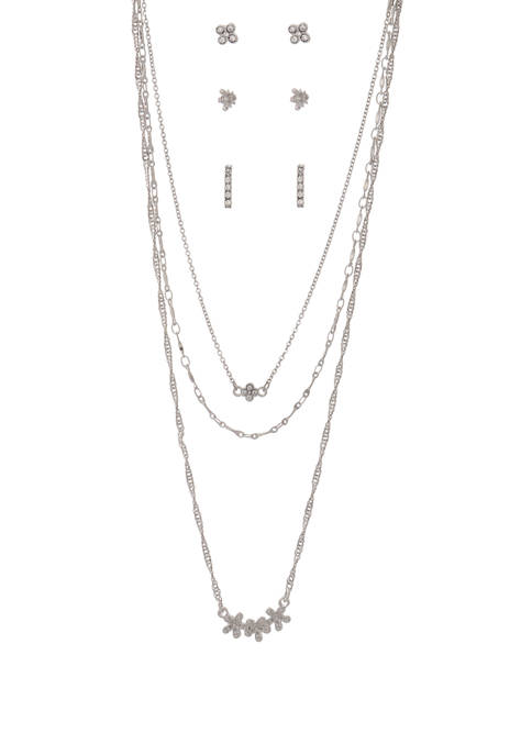 Necklaces and Earrings Floral Silver Set