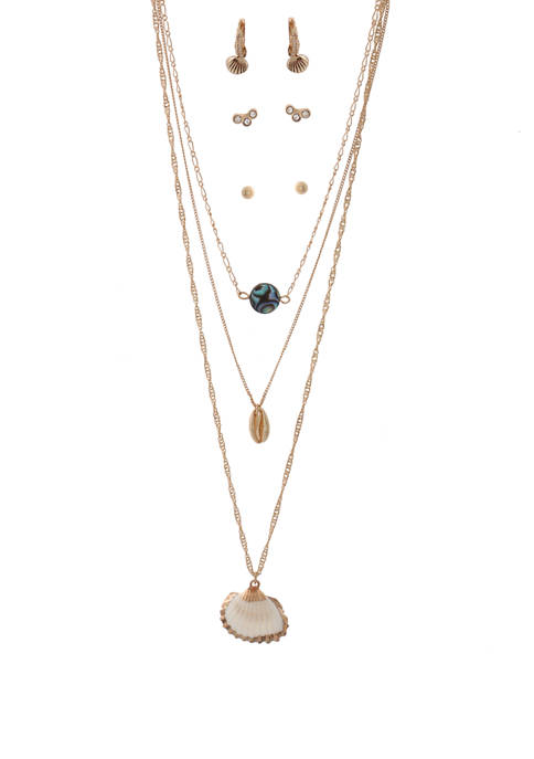 Kaari Blue™ Necklaces and Earrings Shell Gold Set