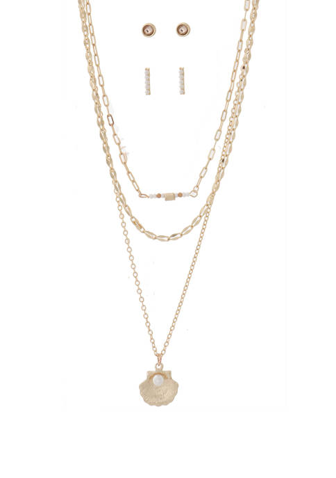 Necklace and Pearl Shell Gold Earring Set