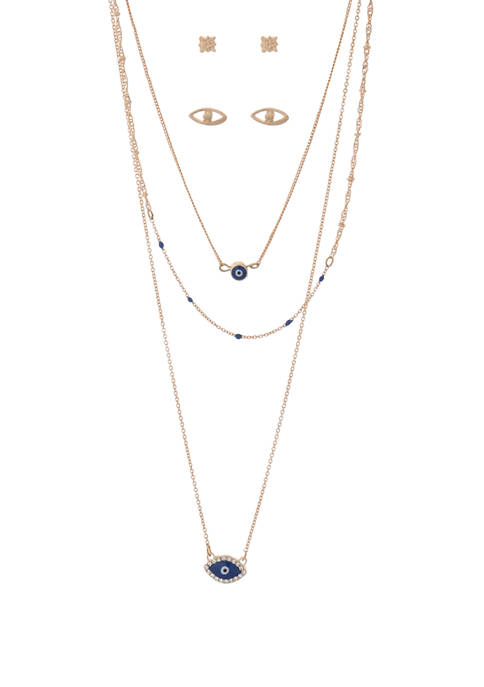Kaari Blue™ Gold Eye Necklace and Earring Set
