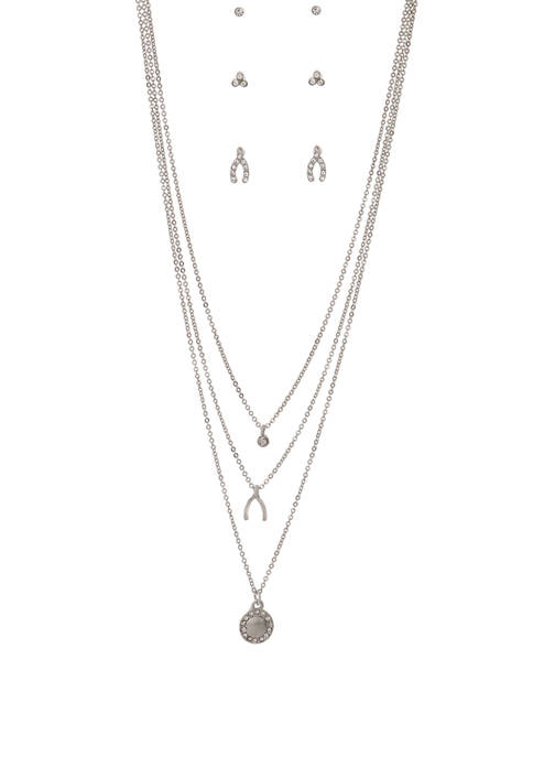 Kaari Blue™ Silver Hammered Disc Necklace and Earring
