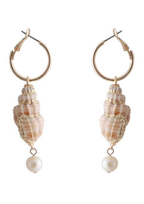 Huggie Shell Linear Earrings