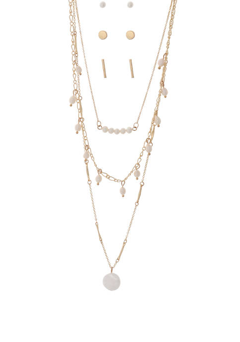 Gold Pearl Necklace and Earring Set
