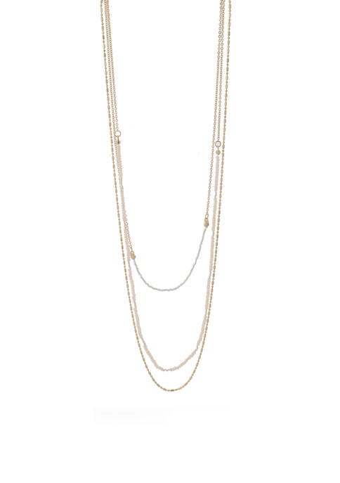 3 Row 24 Inch Chain/Pearl Necklace
