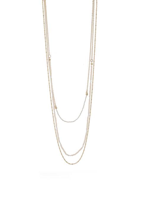Kaari Blue™ 3 Row 24 Inch Chain/Pearl Necklace