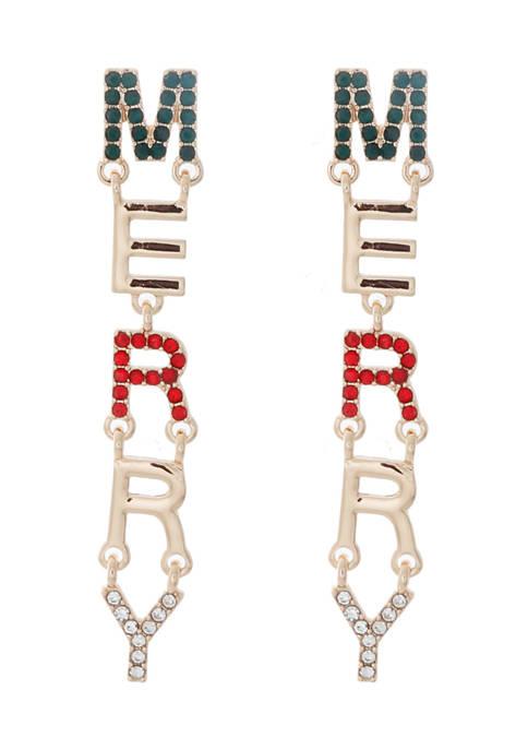 Gold Tone Merry Crystal Linear Earrings