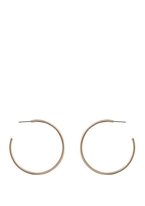 Thin Brushed Gold Hoop Earrings