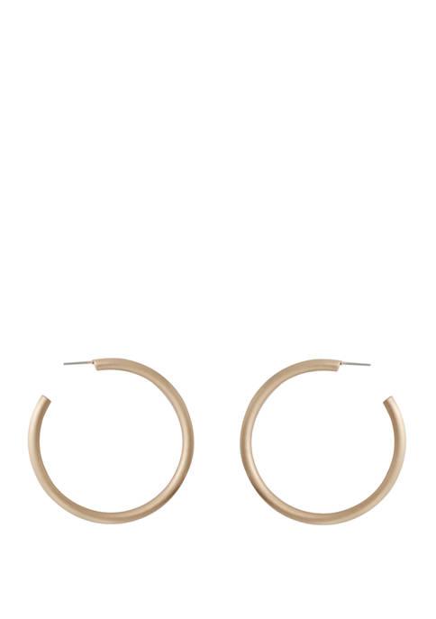 Kaari Blue™ Brushed Gold Tone Hoop Earrings