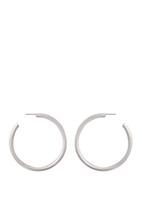 Kaari Blue™ Brushed Silver Tone Hoop Earrings