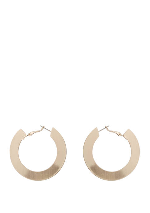 Kaari Blue™ Flat Satin Gold Tone Hoop Earrings