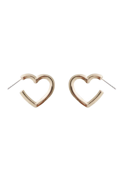 Small Heart Hoop - Gold Tone
