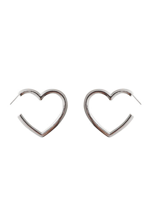 Large Heart Hoop - Silver Tone