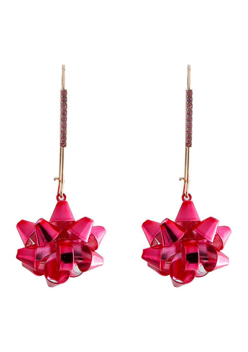 Fuchsia Bow Dangle Earrings