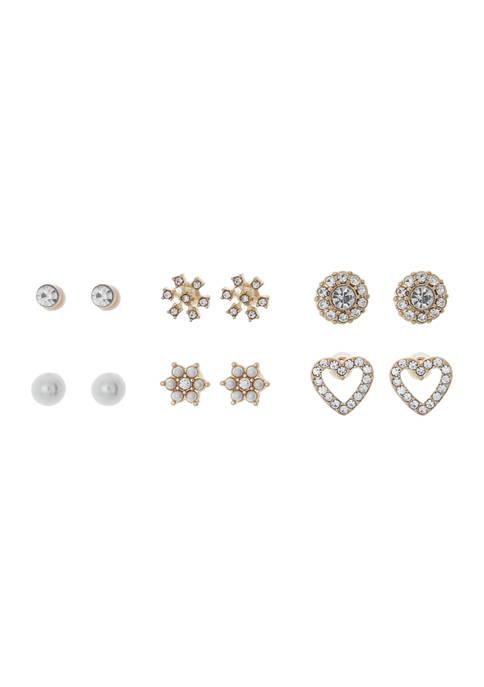 6 Piece Stud Earring Set