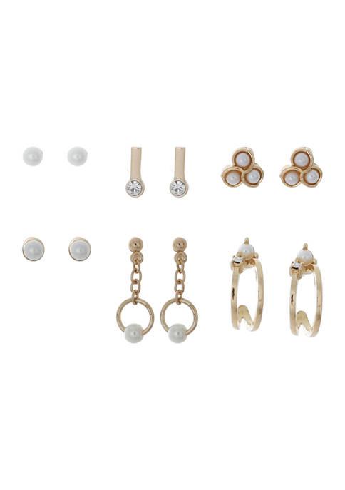 6 Piece Acrylic Pearl Crystal Earring Set