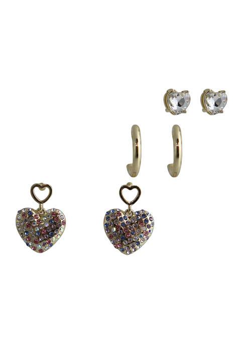 Kaari Blue™ 3 Piece Gold Tone Earring Set