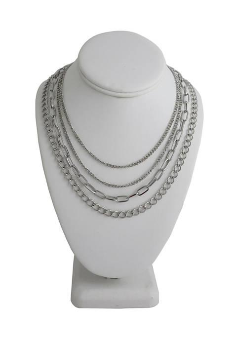Kaari Blue™ 4 Piece Silver-Tone Chain Necklace Set