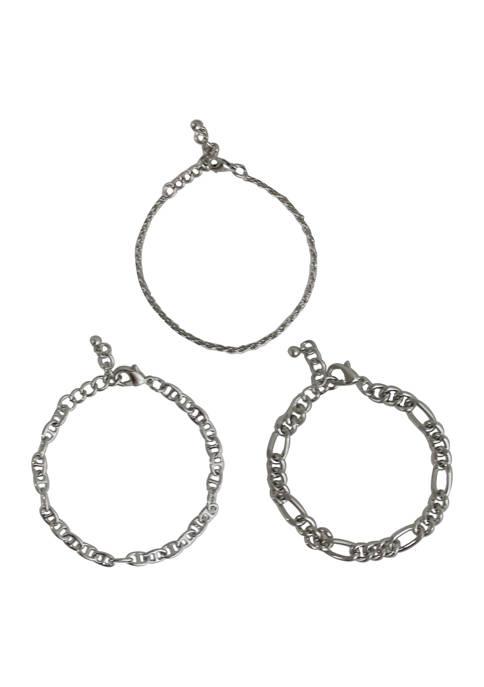 Kaari Blue™ Set of 3 Silver Tone Bracelets