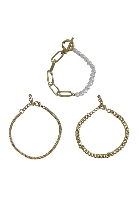 Kaari Blue™ Set of 3 Gold Tone Bracelets