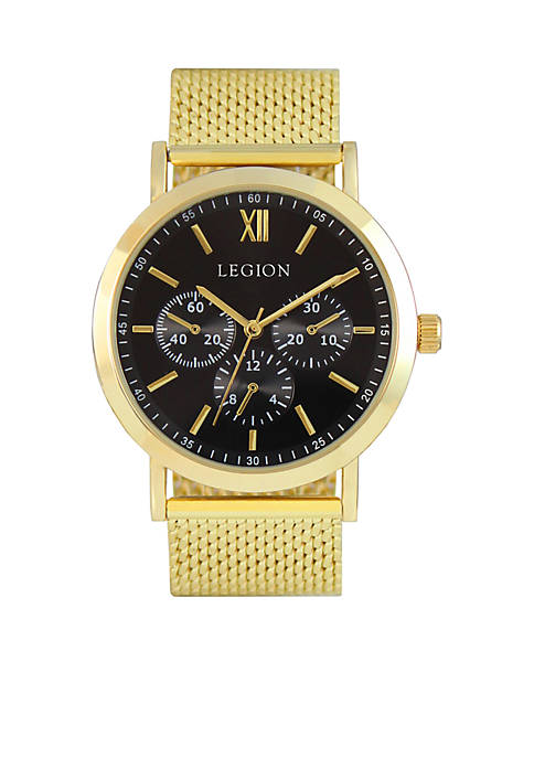 LEGION/CONCEPTS IN TIME Gold-Tone Heavy Mesh Watch